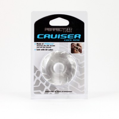 Fat Boy Silicone TPR Cruiser Cock Ring - Ice Clear