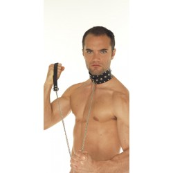 Halsband met studs en hondenketting