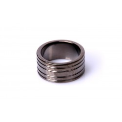 Black Steel Cockring Ribbed (Diverse maten)